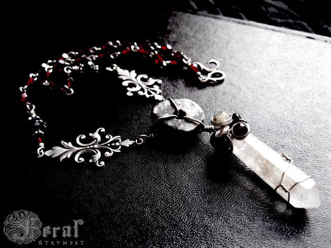 The Vali. Quartz crystal point and antique granite bead by Feral Strumpet