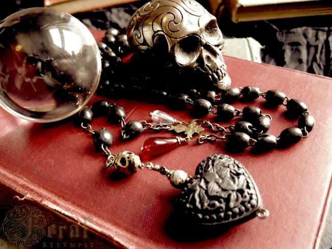 Black Hearted Love Rosary Necklace