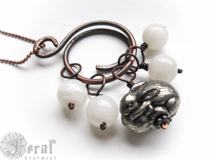 Hare and Moon Knitting Stitch Marker Necklace.