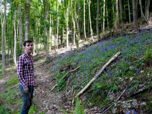 Mike in the bluebell glade