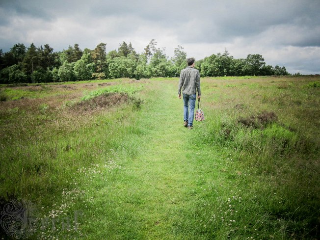 Mike walking on the old Roman camp near Keldy, North Yorkshire