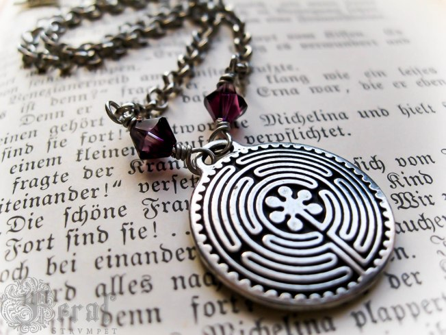 Chartres Labyrinth Necklace, by Feral Strumpet. For more labyrinth-inspired designs, go to my shop.