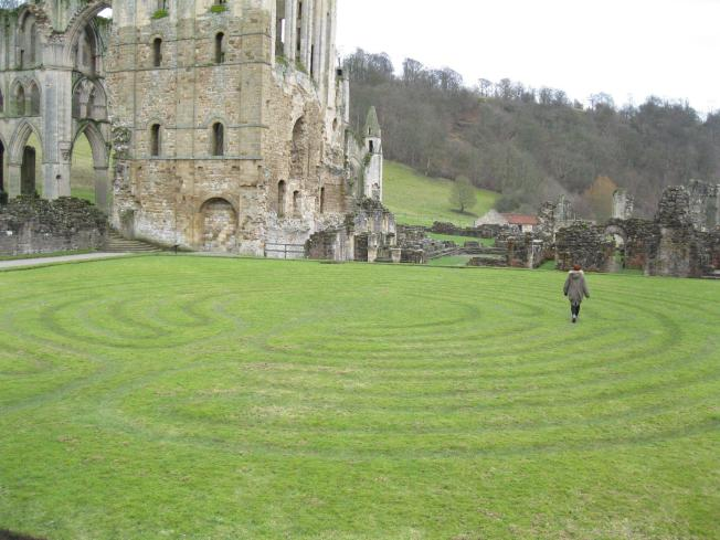 Me walking the temporary labyrinth at Rievaulx Abbey