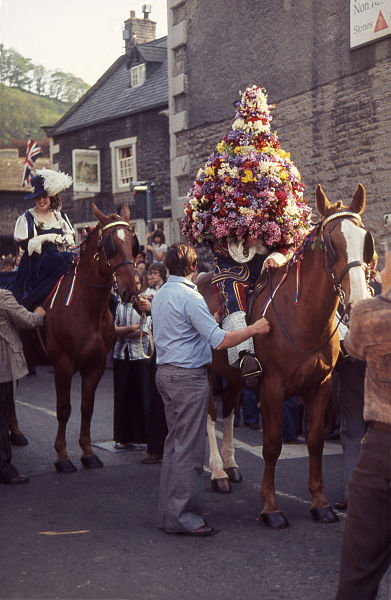 The mounted Garland King, Castelton, Derbyshire (source-- wikipedia commons)