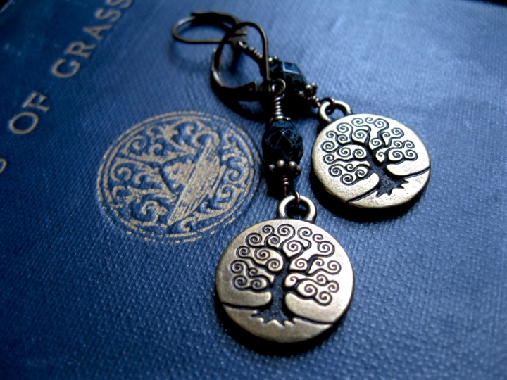 World Tree Earrings in Brass by Feral Strumpet