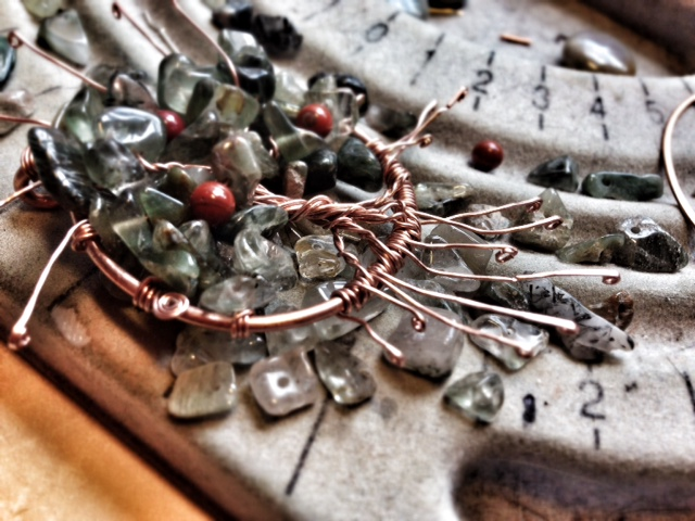Mabon Tree of Life in progress-- curling up the hammered tendrils
