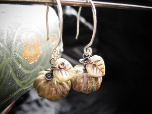 Unakite Pumpkin Earrings by Feral Strumpet