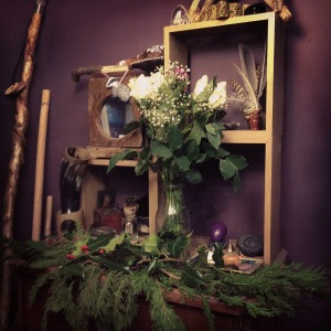 My working altar, decked out for Yule