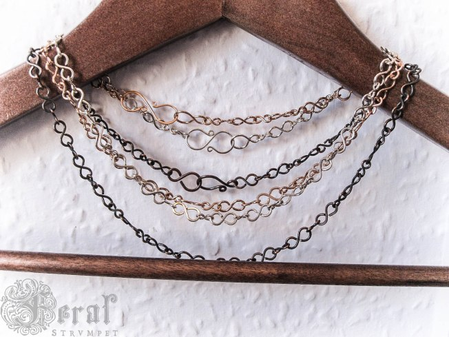 Infinity chains in copper, bronze and silver plate