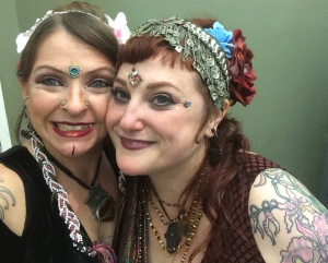 The beautiful and inspiring Kristine Adams and myself at Eastern Beats last year, both wearing bindis!