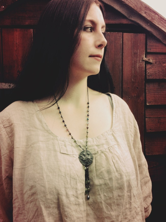 Catherine wearing the Waterlily Tassel Necklace
