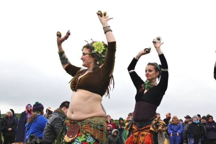 Photo of Brigantes Tribal dancing at Beltane at Thornborough Henge by S'ana Yates.