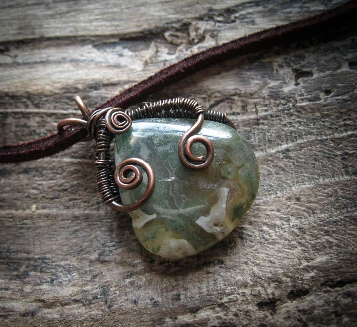 Moss Agate Pendant from the Sindri's Forge collection