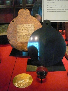 Magical objects said to belong to Dee, now housed together in the British Museum.